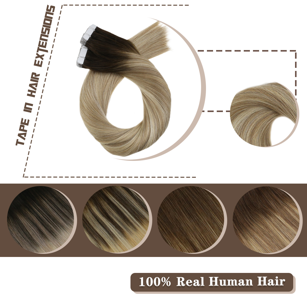 Moresoo Tape In Human Hair Extensions Balayage Ombre Color 12-24 Inch 30-100g/pack Machine Remy Skin Weft Hair Extensions