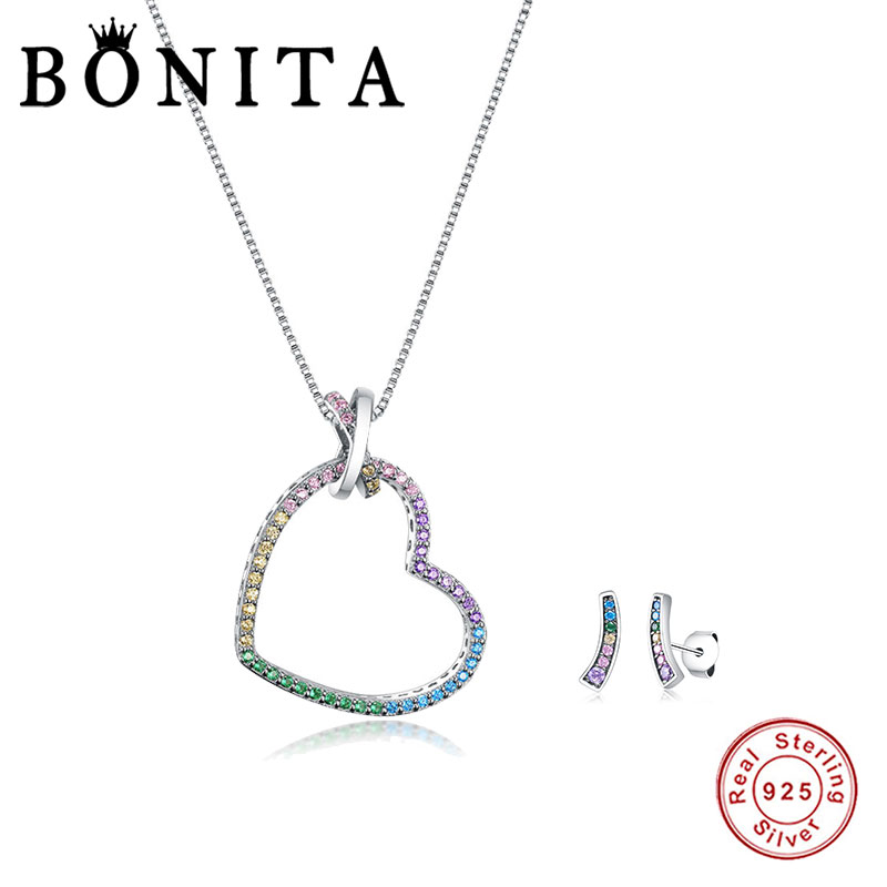 Authentic 925 Sterling Silver Jewelry Set Rainbow Heart Dangle Necklace & Earings Jewelry Sets 100% Sterling Silver Jewelry