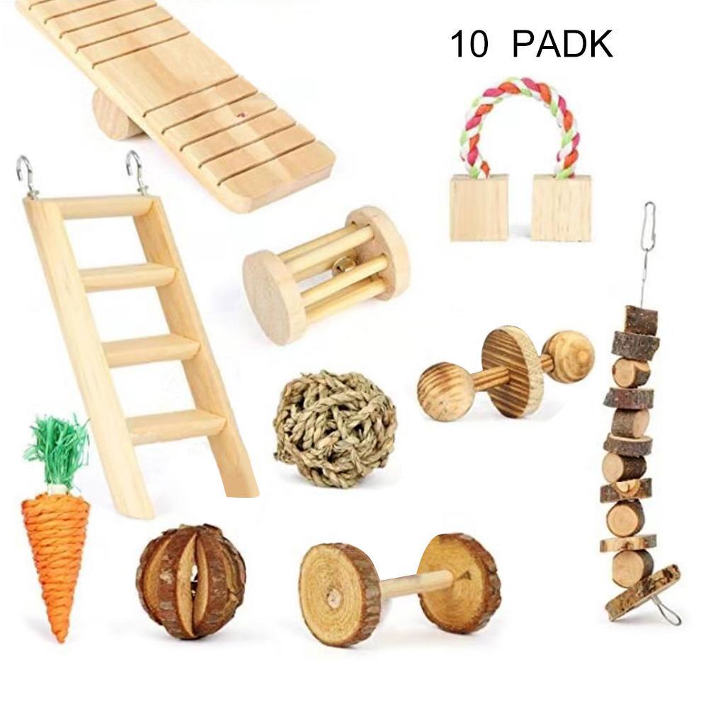10Pcs Wood Carrot Climbing Ladder Guinea Pig Chinchilla Rabbit Chew Teether Toys