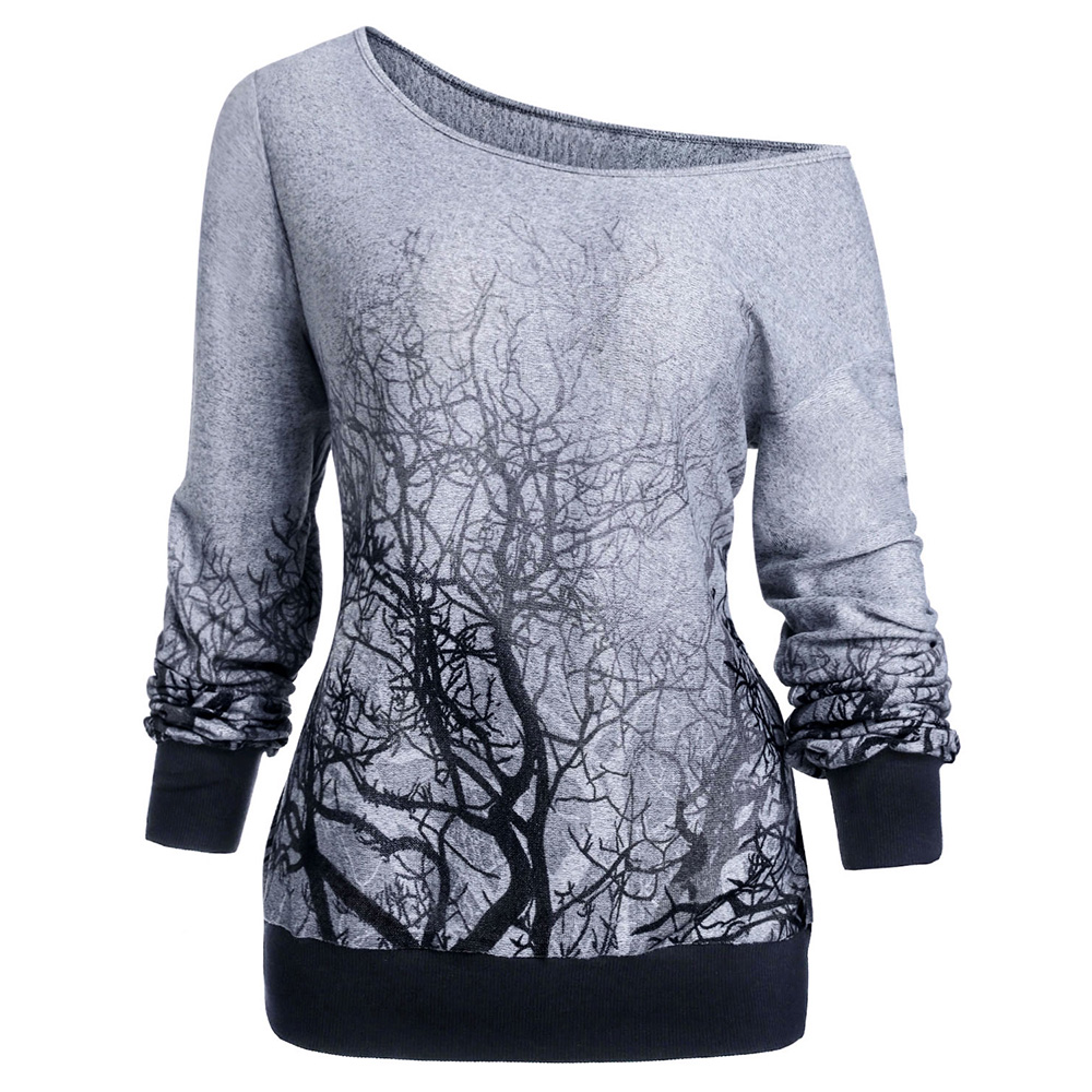 ROSEGAL 3XL Spring Fall Knitting Gothic Hoodies Women Skew Neck Long Sleeve 3D Tree Print Halloween Sweatshirt Top Female Shirt