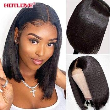 Short Bob Wig Bone Straight Human Hair Wigs for Black Women Pre-Plucked 5x5x1 Closure Wig Brazilian Hair Lace Wigs 150% Denisty 1