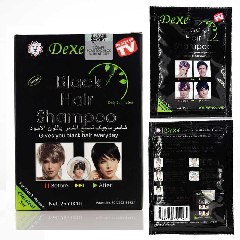 10 sztuk Dexe szybki szampon do czarnych włosów tylko 5 minut biały stają się czarne włosy kolor 2 sztuk/partia szary depilacja dla mężczyzn i kobiet