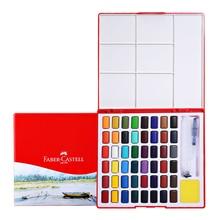 Faber Castell Solid Watercolor Paint 24./36/48 Colors Art Set Portable Paint Come with Watercolor Brush Pen, Palette