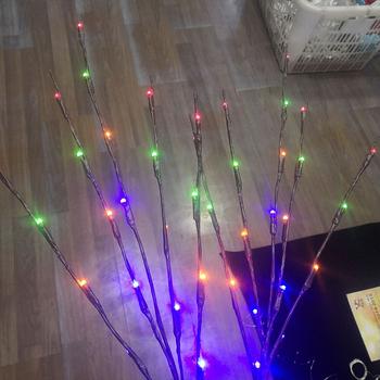 20 LED symulacji wierzba oddział światła stoczni lampa krajobrazowa w pomieszczeniach jak i na zewnątrz Xmas Decor drzewo gałąź światła opakowanie na baterie tanie i dobre opinie OLOEY Brak Malowane Bed room MULTI Black Shadeless Z tworzywa sztucznego Pokrętło przełącznika W górę iw dół Żarówki led