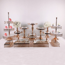 3pcs -17pcs Cake Stand Set Gold Mirror cupcake plate fruit plate afternoon tea