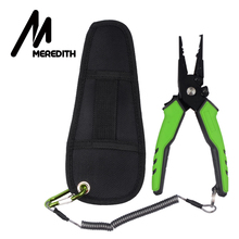 MEREDITH Fishing Aluminum Fishing Pliers Hook Remover Braid Line Cutting and Split Ring with Coiled Lanyard and Sheath