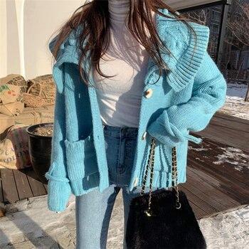 Moda Alien Kitty cálido suave dulce otoño cárdigan suelto bolsillos fresco lindo elegante Casual mujeres punto todo-fósforo suéteres
