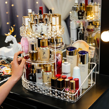 makeup organizer Acrylic rotating cosmetic storage box dressing table lipstick skin care products transparent