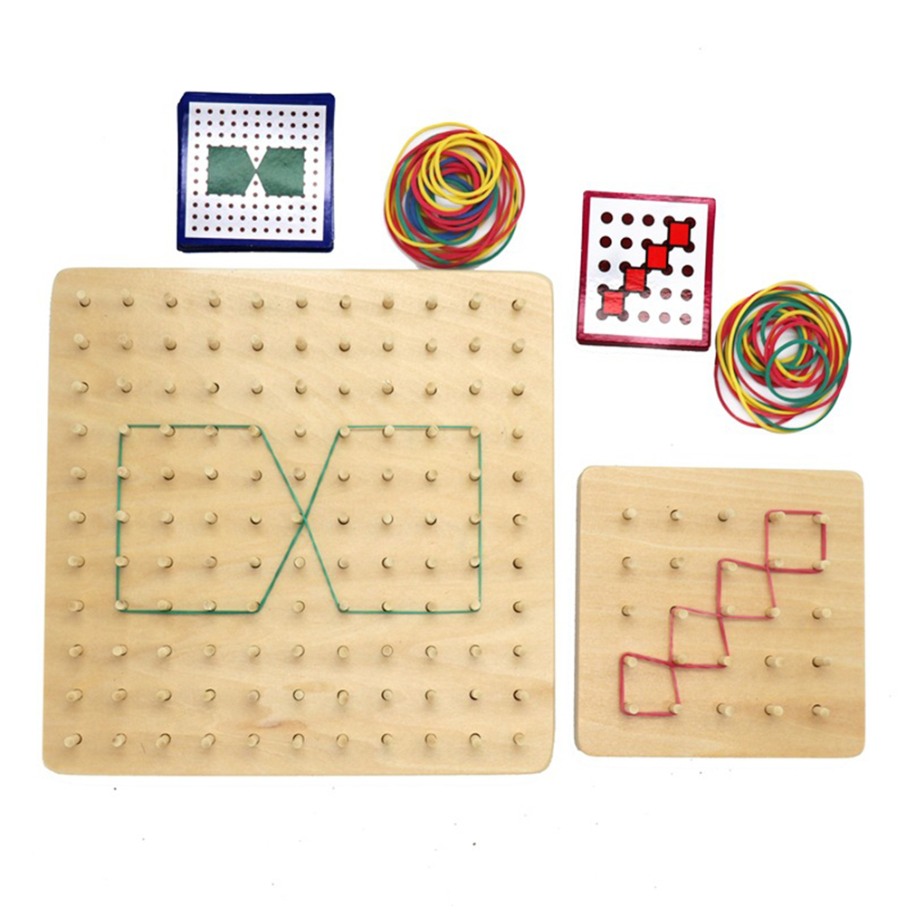Wooden Rubber Tie Nail Geoboard With Cards Geometry Learning Education Kids Toy Handmade Magic Toys For Children
