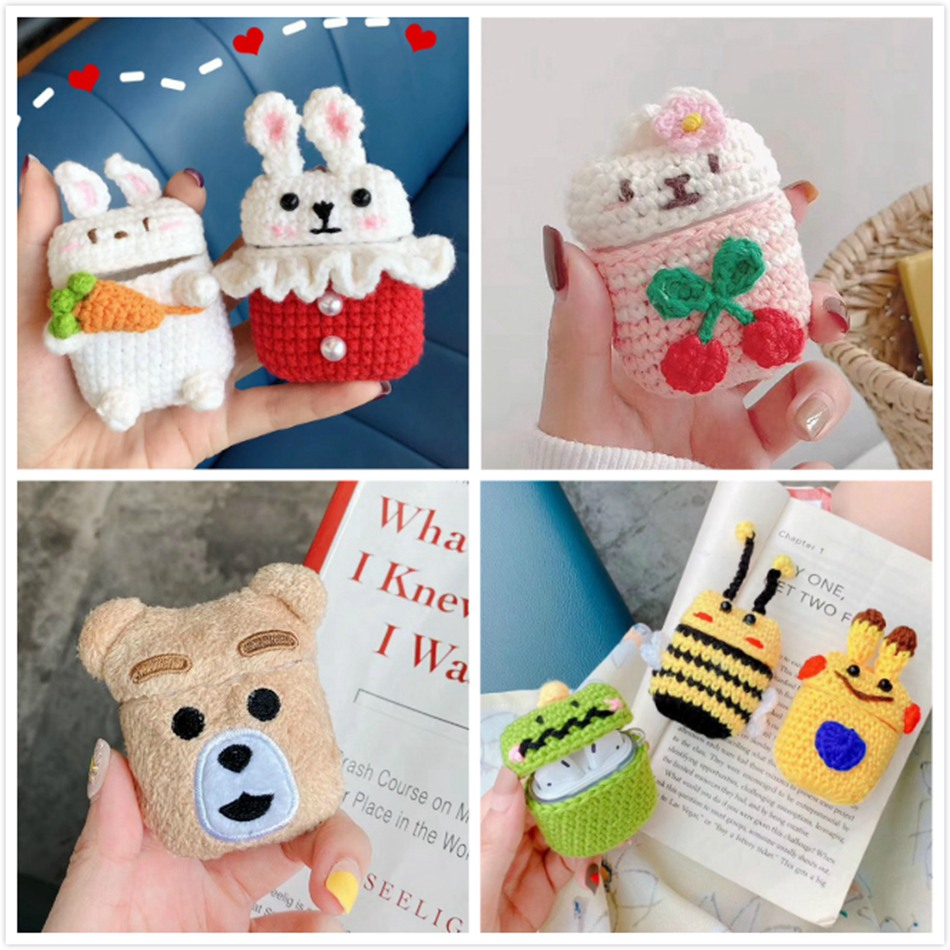 3D Cute Earphone Case For Airpods Case Cartoon Knitted Plush Cover For Apple Airpods 2 Case Teddy Dog Rabbit Earpods Accessories