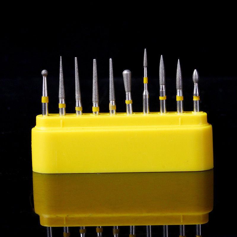 10pcs/kit Dental Diamond Burs For Teeth Porcelain Ceramics Composite Polishing High Speed Handpiece Polisher