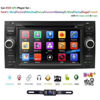 Car Multimedia Player WINCE Car DVD GPS Autoradio 7'' For Ford/Mondeo/Focus/Transit/C-MAX/S-MAX/Fiesta with BT Rear Camera RDS image