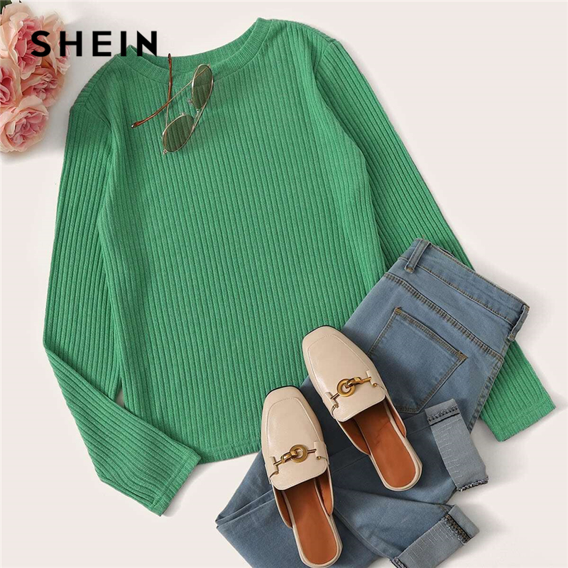 SHEIN Solid Round Neck Ribbed Knit Casual T-Shirt Women Tees 2019 Autumn Long Sleeve Office Ladies Basic Form Fitted T-shirts