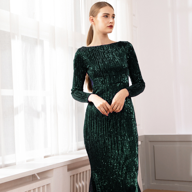 Green Sequined O Neck Evening Party Dress Maxi Dresses Elegant Sequin Floor Length Dress Gown 1
