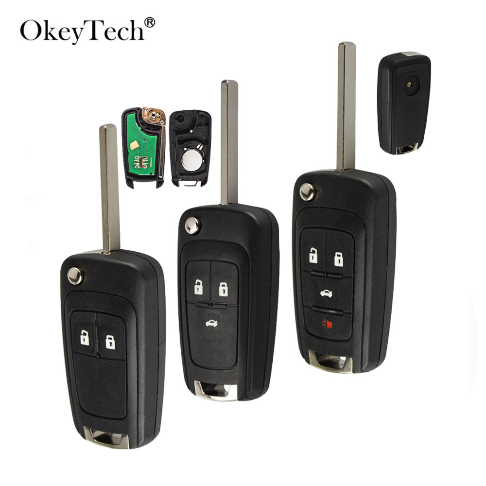 OkeyTech 2 3 4Button Complete Flip <font><b>Car</b></font> Remote <font><b>Key</b></font> For Opel astra h g j Vauxhall <font><b>Key</b></font> Replace 433MHZ ID46 <font><b>Electronic</b></font> Chip On Board image