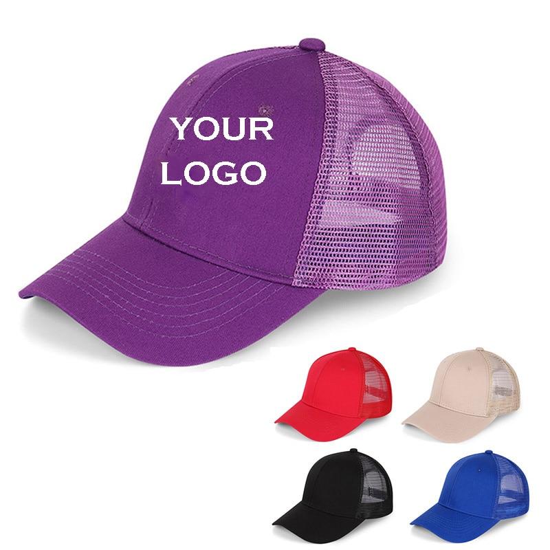 1Pcs Free Custom LOGO Design Personality DIY Trucker Hat   Baseball     Cap   Men Women Blank Mesh Adjustable Hat Adult gorras