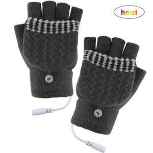 Перчатки с подогревом USB 5V для мужчин и женщин, теплые зимние перчатки, перчатки без пальцев для ноутбука