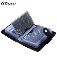 Mode PU Leer Functie 24 Bits Card Case Visitekaarthouder Mannen Vrouwen Credit Paspoort Card Bag ID Passport Card portefeuilles
