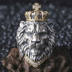 Retro Crown Lion King Ring, Tin Alloy Silver-plated Hand Jewelry, Men's Ring Size can be slightly adjusted