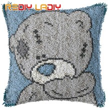 Latch Hook Kit Biru Hidung Beruang Cushion Cover-Kanvas Benang Crochet Kerajinan Bantal 43X43cm Tempat Tidur Sofa Cushion Depan(China)