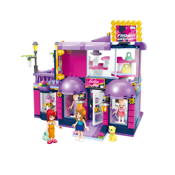2005 Qman Newest Style Girl Fashion Clothing House Set Plastic Building Blocks Toy For Kids