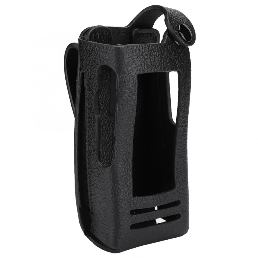 Portable Walkie Talkie  Walkie-Talkie Hard Leather Case Cover With Back Clip + Nylon Shoulder Strap For Motorola P8268