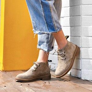 Image 3 - 발목 부츠 여성 정품 스웨이드 가죽 레이스 높은 상위 더비 신발 가을 플랫 힐 레이디 신발 BeauToday 04018