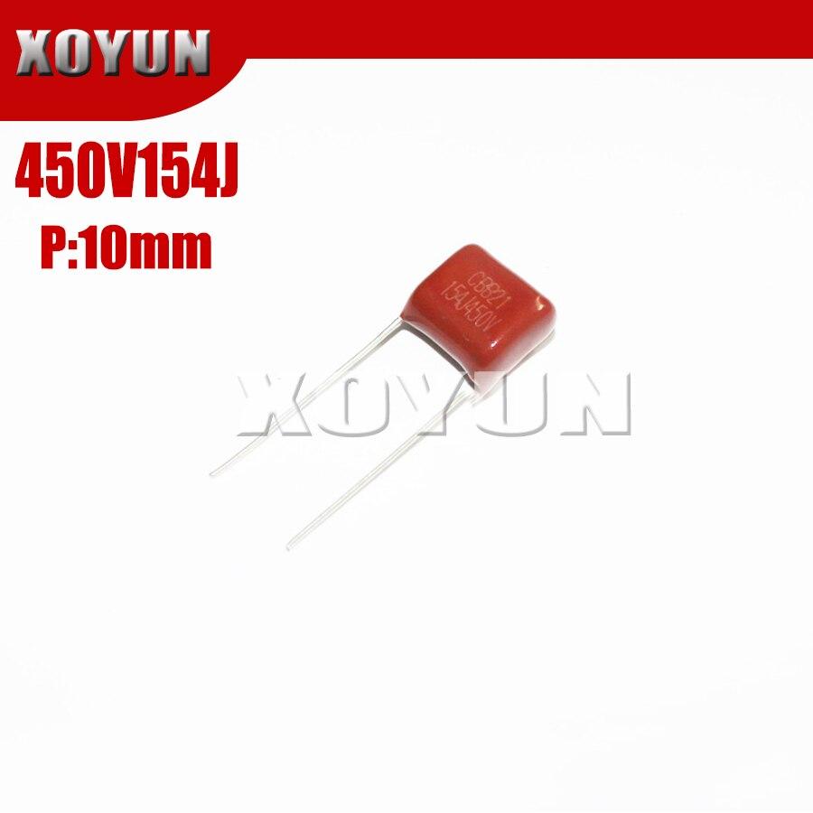 50PCS CBB21 154J 400V 0.15UF 150NF P10 Metallized Film Capacitor