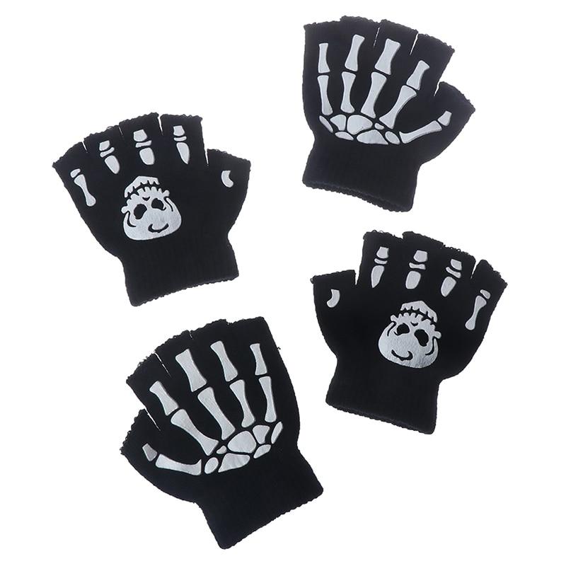 Boys Cool Fluorescent Skeleton Gloves Children Mittens Skull Gloves Fashion Cool Winter Black Knitting Luminous Gloves