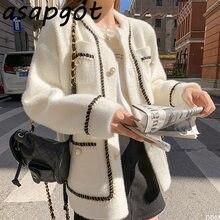 Asapgot – Cardigan tricoté à col rond pour femme, pull en cachemire de vison blanc, Style paresseux coréen rétro, noir, ample, à la mode, automne hiver