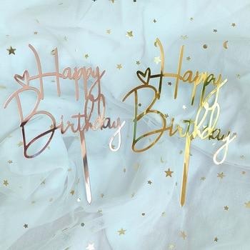 Decoración promocional de pastel de acrilico feliz cumpleaños, Decoración de Pastel de oro rosa y plata para niños, adornos de pastel de fiesta para Baby Shower