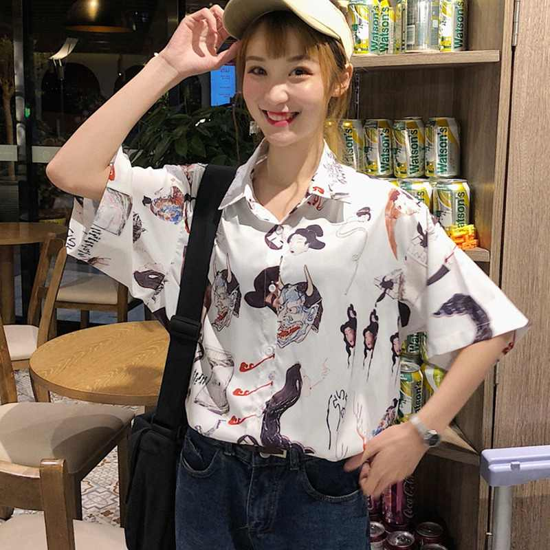 Harajuku 2019 נשים חולצה פאנק מזדמן רופף קצר שרוול חולצות חולצות נקבה קוריאני סגנון Blusas Mujer דה Moda
