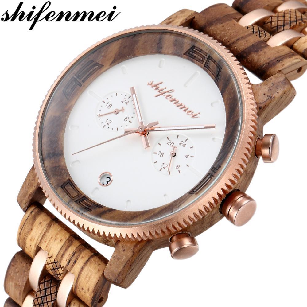 Shifenmei Wood Watch Chronograph Men Watch Luxury Brand Men Sports Watches Waterproof Quartz Wristwatch Male Relogio Masculino
