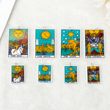 10pcs Small Size 34mm*25mmTarot Card Game Magical Divination Charms Resin Sun Moon And Lovers  DIY Accessory  Necklace Pendant