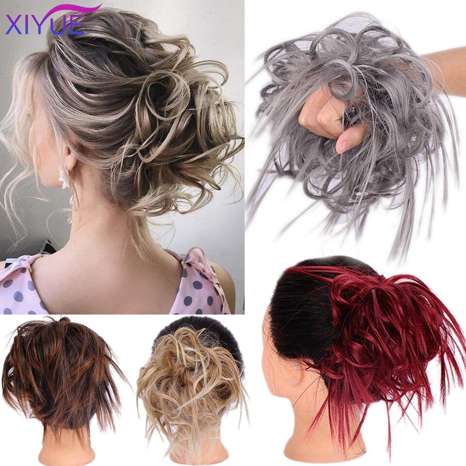 Шиньон XIYUE из синтетических нечистоплотных волос, шиньон с резинкой, кудрявый шиньон, накладка на хвост для женщин