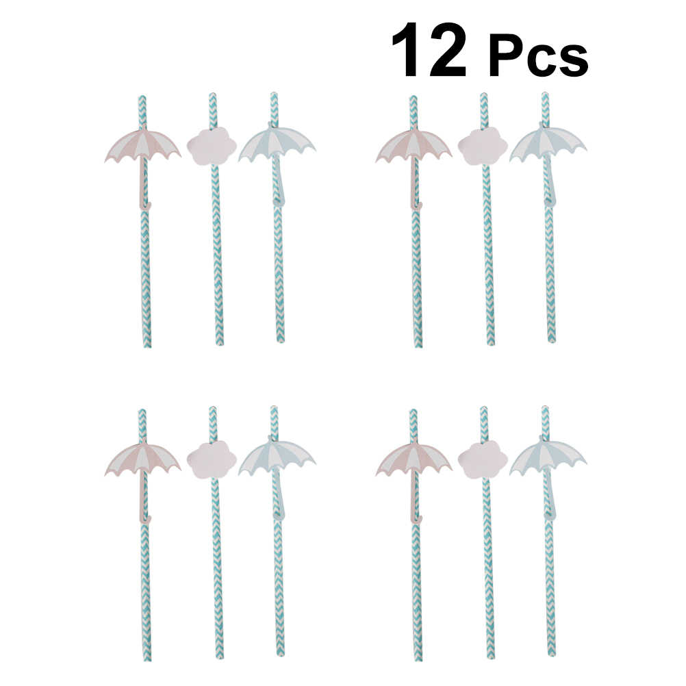 12pcs Paper DIY Drinking Straws Disposable Straws Cute Cartoon Creative Umbrella Straws Tubularis for Party Club Bar