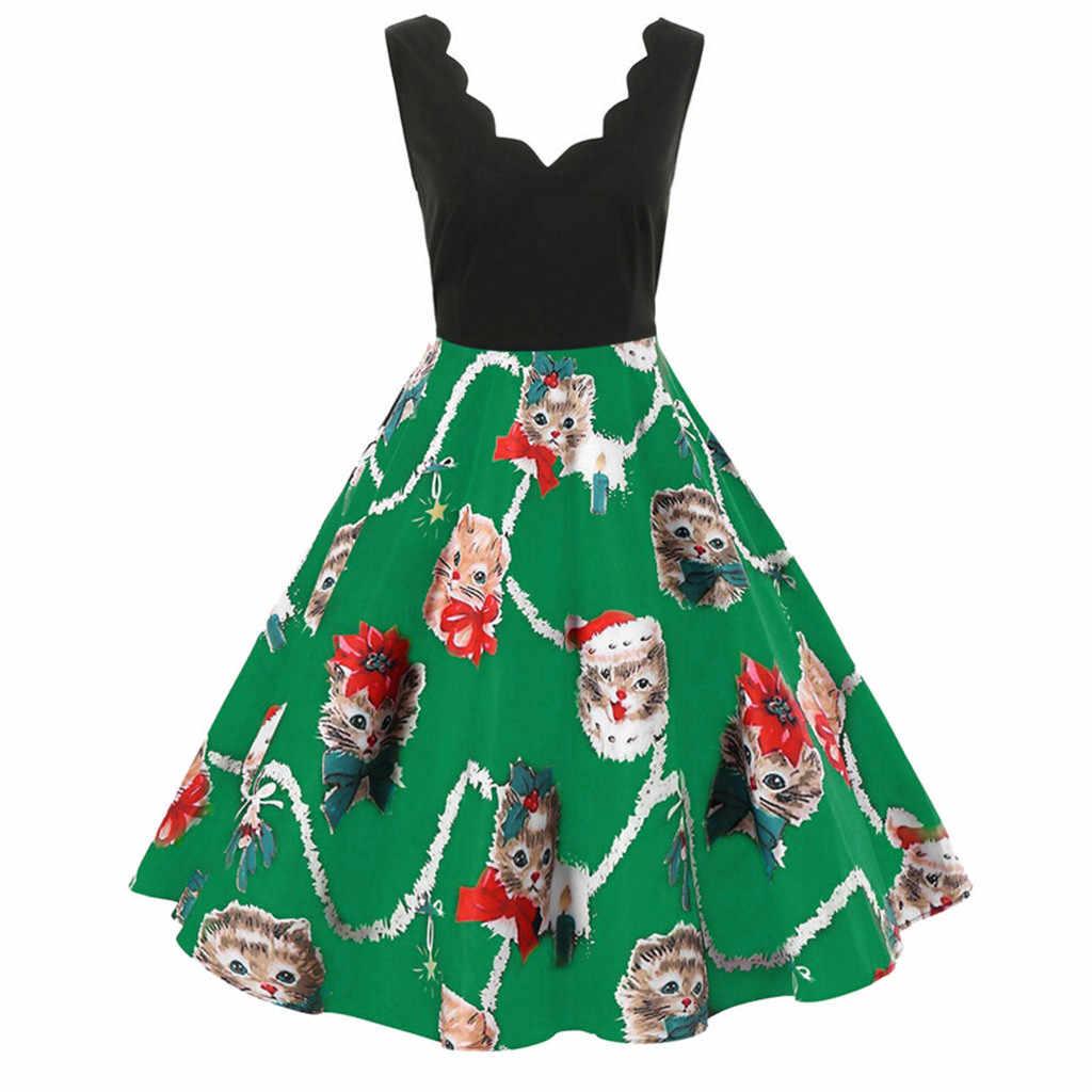 נשים אופנה שרוולים צווארון V חג המולד שמלת חתולי הדפסת נדנדה נשים שמלה סקסי ילדה חורף מסיבת שמלות