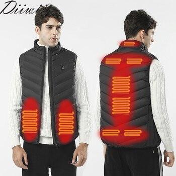 DiiWii Men Autumn winter Smart heating Cotton Vest USB Infrared Electric Heating Vest Women Outdoor Flexible Thermal Warm Jacket