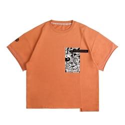 Color orange Summer Loose Skateboard Tee Boy Skate Tshirt Tops male and Female T shirts 100% cotton Men Rock Hip hop Street wear