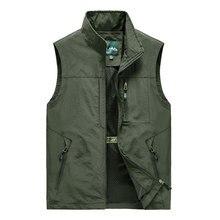 5XL Men Multi-Pocket Classic Waistcoat Male Sleeveless Thin Spring Solid Coat Work Vest Photographer Tactical Summer Jacket
