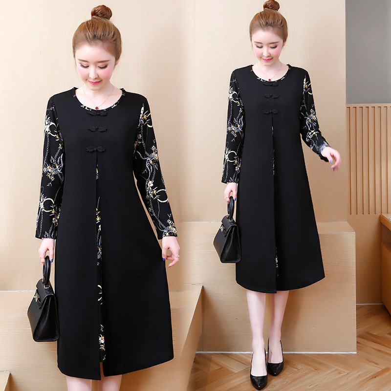 Photo Shoot 2019 Spring New Style Large Size Dress Large GIRL'S Ethnic-Style Printed Joint Mid-length Dress Women's