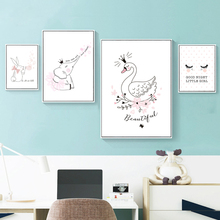 Elephant Rabbit Swan Cartoon Canvas Painting Nursery Wall Art Print Nordic Poster Pink Pictures For Baby Kids Room Decor