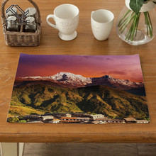 TTLIFE Landscape Pattern Placemats Waterproof Polyester Mats Kitchen Accessories Mat Solid Placemat for Table Decor Home