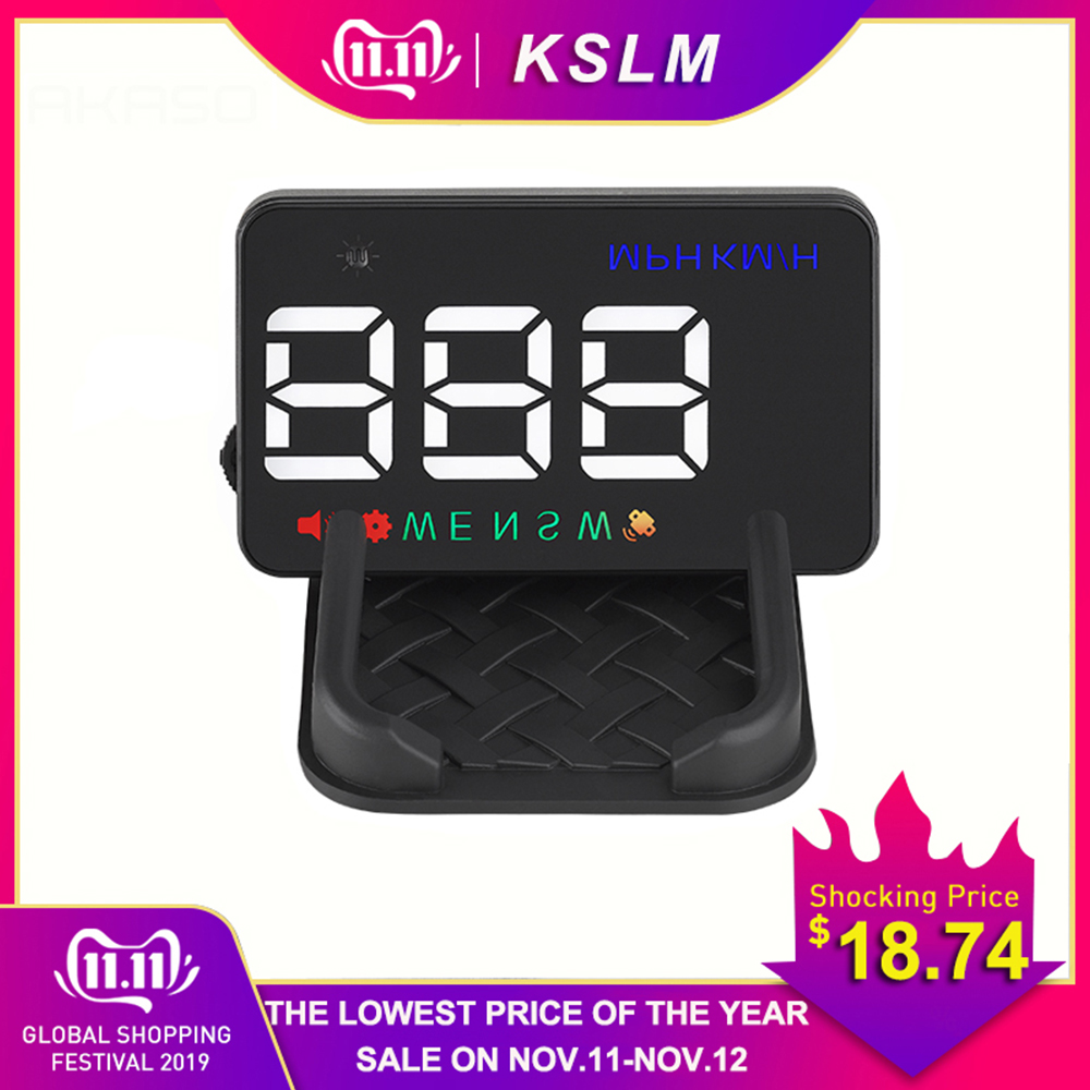 3.5mm Universal Car HUD GPS Speedometer Speedo Head Up Display Digital Over Speed Alert Windshield Projetor Auto Navigation