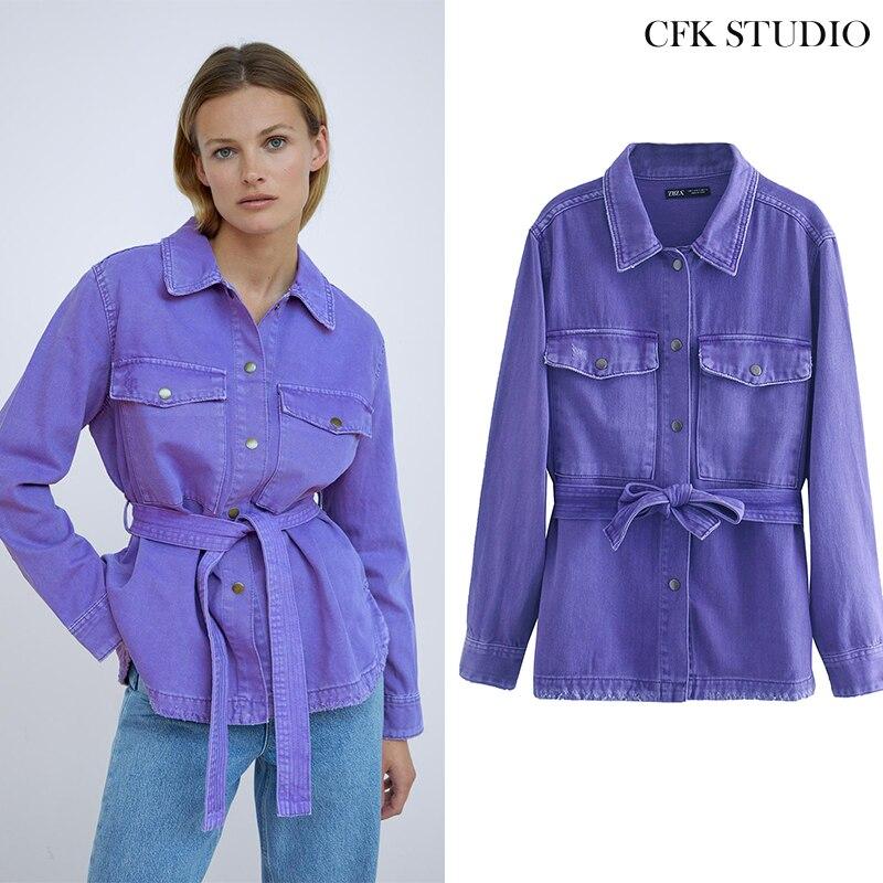 Женская Осенняя джинсовая куртка с отложным воротником и поясом, однотонное пальто оверсайз с длинным рукавом, женское Элегантное повседневное фиолетовое джинсовое пальто|Куртки| | АлиЭкспресс