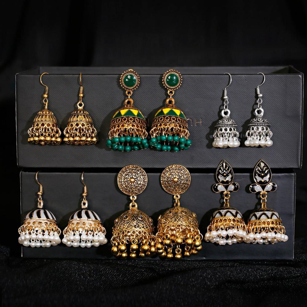 Pendientes piercing jóias indianas jhumka encantos brincos para acessórios femininos kolczyki brinco na moda brincos de orelha de casamento