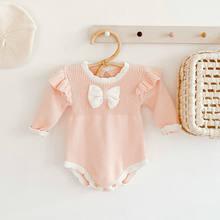 Розовая Трикотажная Одежда для маленьких девочек; Зимний комбинезон
