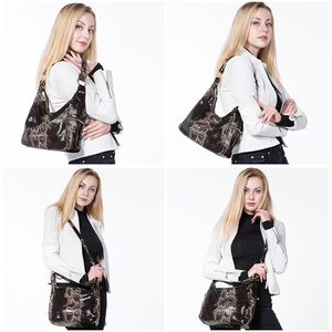 Image 2 - REALER woman handbags genuine leather tote female classic serpentine prints classic shoulder crossbody bags ladies messenger bag