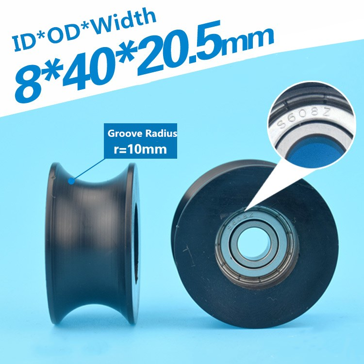2pcs 8x40x20.5mm Nylon Plastic U-shaped Groove Roller Guide Pulley Wheel 20mm Track Delrin Wrapped 625ZZ Bearing Pulley