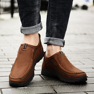 Image 2 - winter split Leather flats Shoes man 2019 Men casual shoes Slip On Loafers Moccasins Driving Shoes male footwear plus 39 48